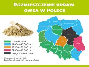 Mapa z rozmieszczeniem upraw owsa w Polsce